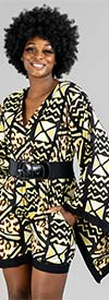 KaraChic 7596-Yellow / Black - Womens Mock Wrap Short Romper With Bell Sleeves
