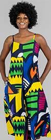 KaraChic 7601-Blue/Multi Print - Womens African Inspired Print Sleeveless Wide Leg Jumpsuit