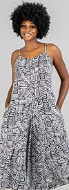 KaraChic 7601-Black / White - Womens African Inspired Print Sleeveless Wide Leg Jumpsuit