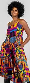 KaraChic 7601-Multi Gold / Blue / Purple - Womens African Inspired Print Sleeveless Wide Leg Jumpsuit