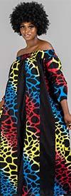 KaraChic 7604-Multi-Color Animal - African Style Print Panel Dress With Smocked Off-Shoulder Neckline