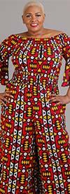 KaraChic 7610 - Womens Smocked Bell Sleeve Wide-Leg Jumpsuit In African Inspired Print