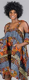 KaraChic 7611 - Womens Cut-Out Sleeve Dress In African Style Print