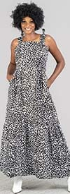 KaraChic 7613-Leopard - Womens Sleeveless Strappy Maxi Dress In African Style Print