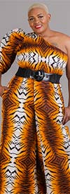 KaraChic 7616 - Womens One Shoulder Style Smocked Jumpsuit In African Inspired Print