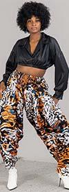 KaraChic 7635-Animal - Womens African Print Harem Style Pants With Pockets