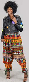 KaraChic 7637-Multi Print - Womens African Print Cuffed Style Pants With Pockets