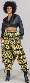 KaraChic 7637-Yellow / Black - Womens African Print Cuffed Style Pants With Pockets