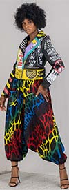 KaraChic 7638-Multi Print / Black - Womens African Print Harem Style Pants