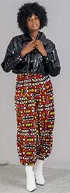 KaraChic 7638-Yellow / Red - Womens African Print Harem Style Pants