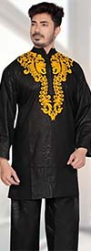 KaraChic 816-Black - Nehru Collar Mens Tunic And Pant Set With Embroidered Design