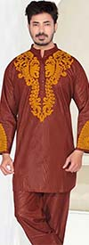 KaraChic 816-Brown - Nehru Collar Mens Tunic And Pant Set With Embroidered Design