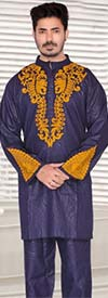 KaraChic 816-Navy - Nehru Collar Mens Tunic And Pant Set With Embroidered Design