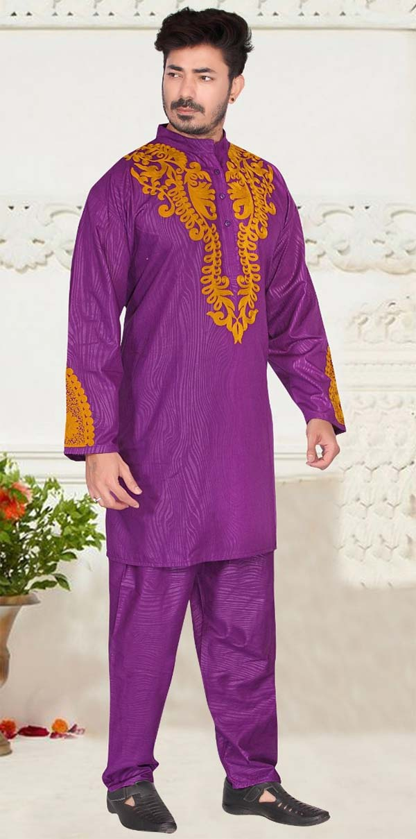 KaraChic 816-Purple - Nehru Collar Mens Tunic And Pant Set With Embroidered Design