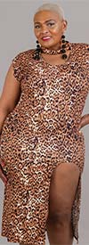 KaraChic CHH21001 - Womens Sleeveless Dress With Round Split Hem Design In Animal Print