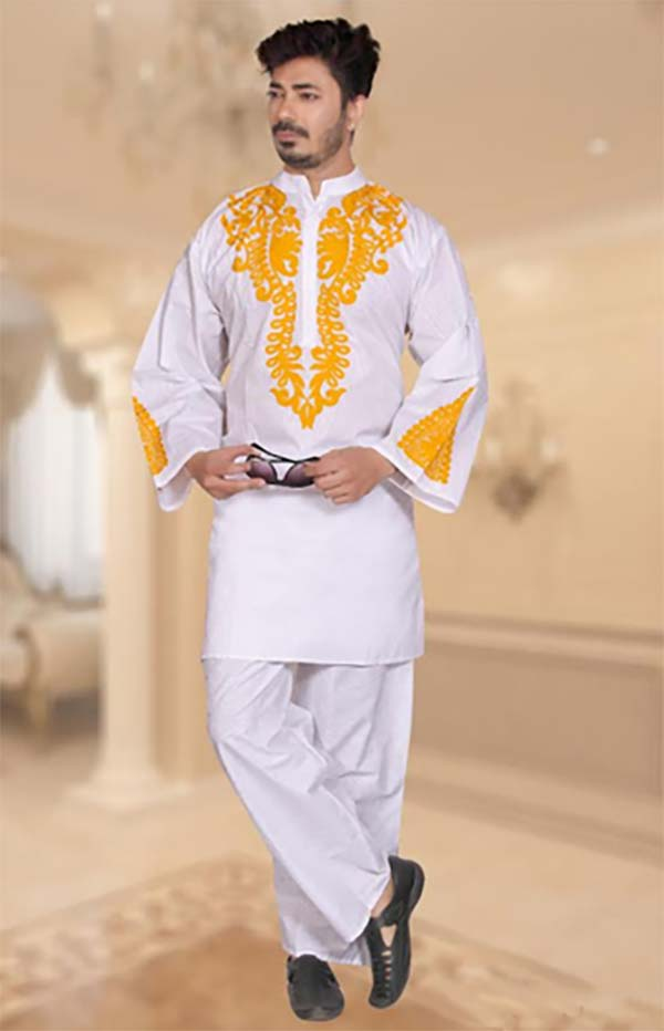 KaraChic 816-White - Nehru Collar Mens Tunic And Pant Set With Embroidered Design