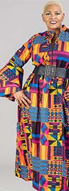 KaraChic 7659 - Womens Bell Sleeve Zip-Front Dress In African Style Print