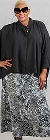 Buzz Jeans - Buz Skirt-SK036-Gray/Multi/Animal Print - Knit Pull-On Skirt