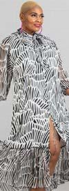 N By Nancy A90012 - Animal Print Dress With Sheer Ruffle Sleeves And Hemline