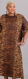 KaraChic 7528-Leopard - Womens One Piece Caftan In Animal Print Design