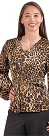 Rose Collection RC530 - Womens Animal Print V-Neck Button-Up Balloon Sleeve Top