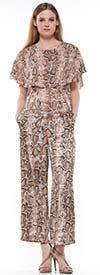 Why Dress P190549 Snake Print Womens Wide Leg Pant