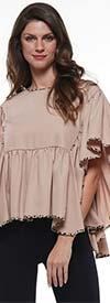 Why Dress - T181619-Beige - Womens Ruffle Hem Top With Leopard Print Trim