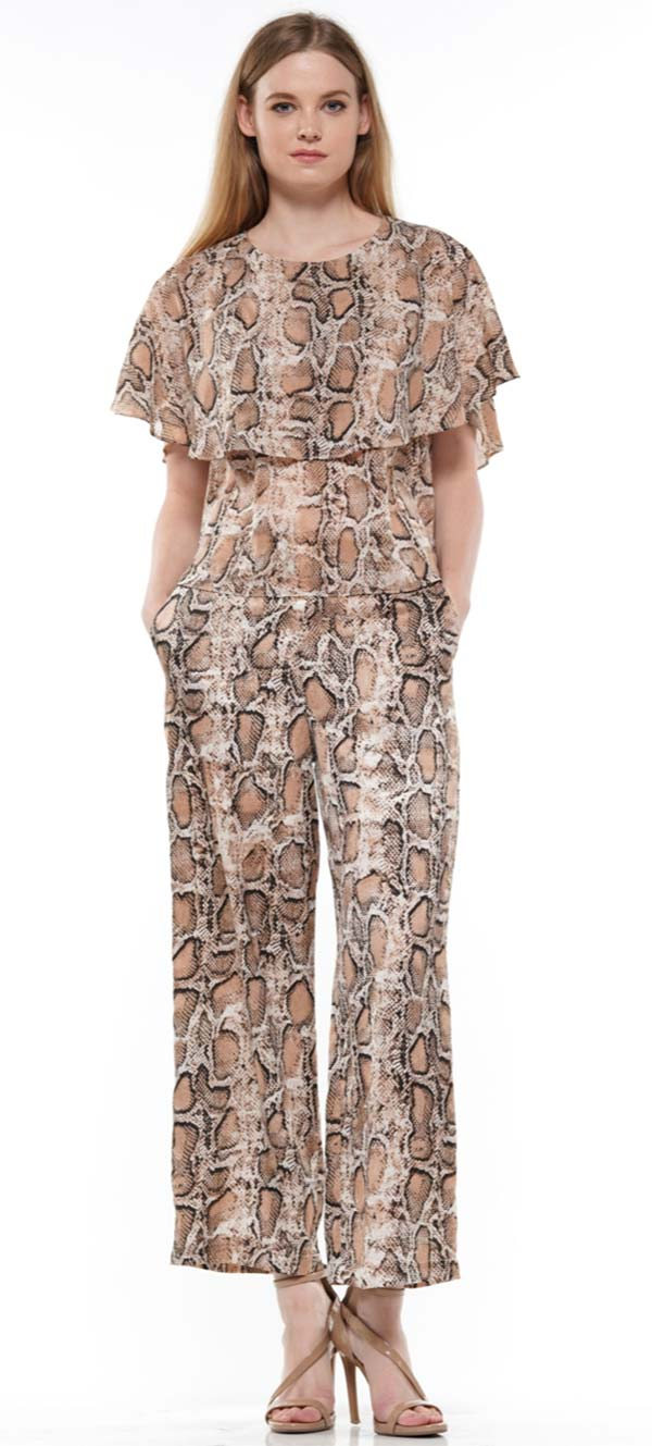Why Dress - T190549 - Womens Cape Style Top In Snake Print Design