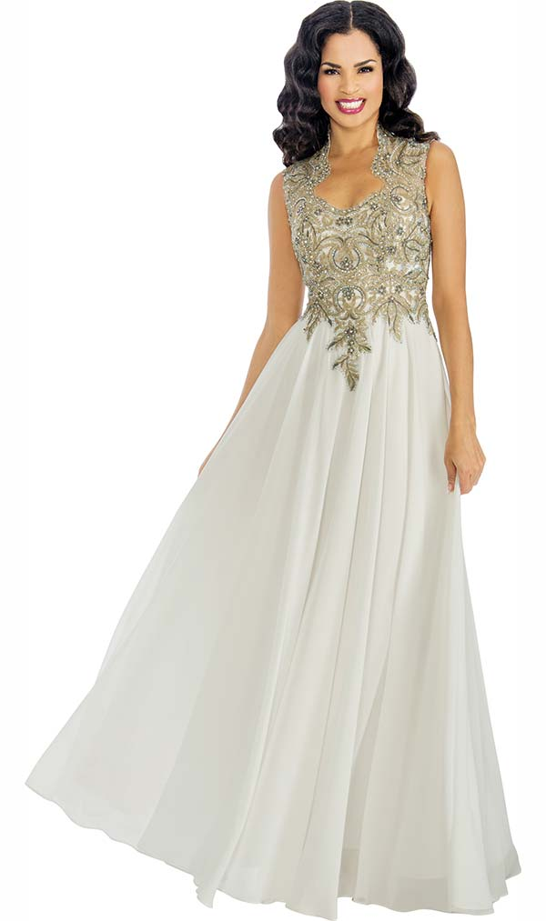 Annabelle 8599 Sleeveless Pleated Floor Length Dress With Ornate Decollete Neckline Bodice