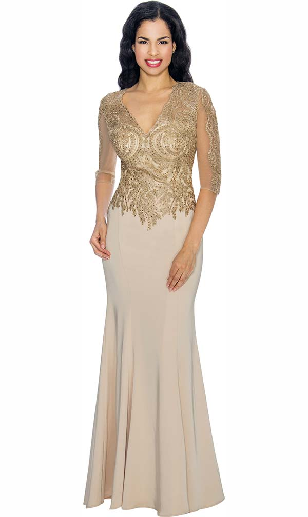 Annabelle 8622-Champagne Half Sleeve Vee Neckline Fit and Flare Floor Length Dress