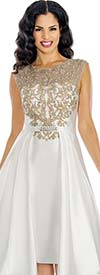 Annabelle 8624-Pearl Sleeveless Pleated Tea Length Dress With Applique Adorned Bodice
