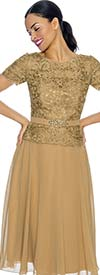 Annabelle 8626-Gold Short Sleeve Pleated Tulle Dress With Lace Bodice