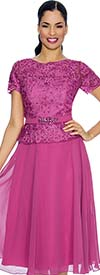 Annabelle 8626-Orchid Short Sleeve Pleated Tulle Dress With Lace Bodice