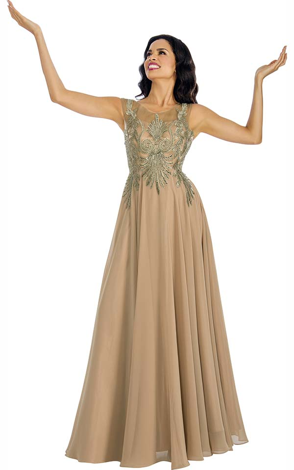05e8f2374a0b48 Annabelle 8635-Gold Sleeveless Pleated Dress With Lace Applique.  259.00. Fall  2018