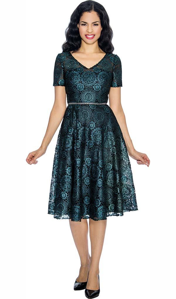 Annabelle 8652 Short Sleeve Vee Neckline Dress With Geometric Style Print