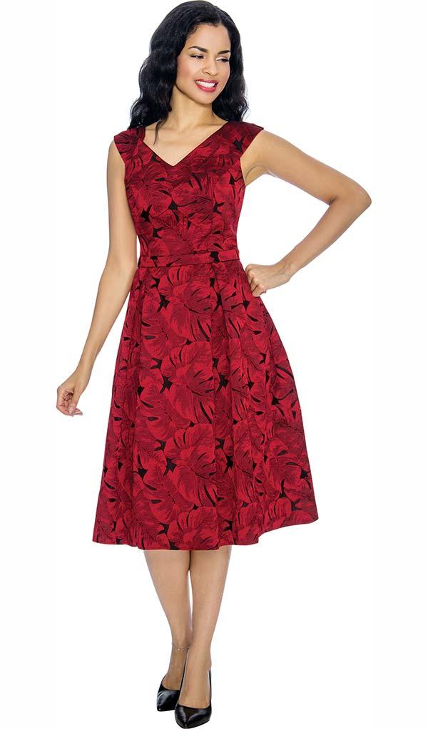 Annabelle 8653 Vee Neckline Pleated Leaf Print Dress