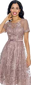 Annabelle 8654-Mauve Short Sleeve Lace & Tulle Design Dress