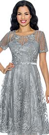 Annabelle 8654-Platinum Short Sleeve Lace & Tulle Design Dress