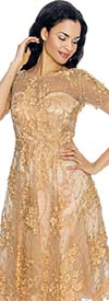 Annabelle 8655-Gold Short Sleeve Dress With Mesh & Floral Applique Design