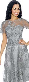 Annabelle 8655-Silver Short Sleeve Dress With Mesh & Floral Applique Design