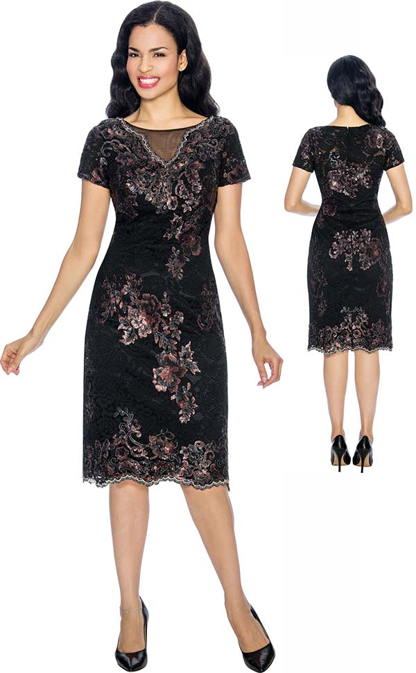 Annabelle 8656 Short Sleeve Pencil Dress With Multi Floral Print