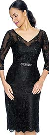 Annabelle 8657-Black V-Neck Fitted Lacy Dress With Three Quarter Sleeves