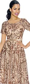 Annabelle 8659 Boat-Neck Tea Length Dress With Intricate Print Design