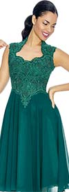 Annabelle 8660-Forest Sleeveless Tea Length Dress With Decollete Neckline