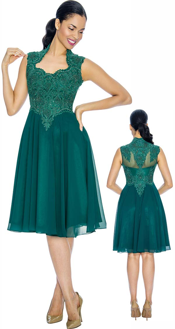 Annabelle 8660-Forest Sleeveless Tea Length Dress With Decollete Neckline