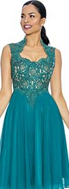 Annabelle 8660-Jade Sleeveless Tea Length Dress With Decollete Neckline