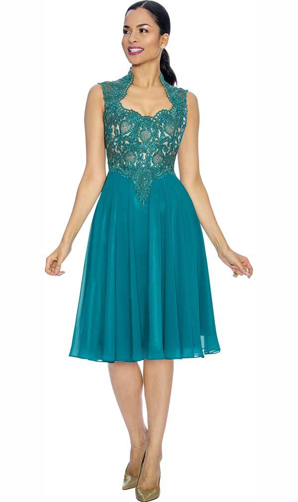 Annabelle 8660-Jade Sleeveless Tea Length Dress With Decollete Neckline