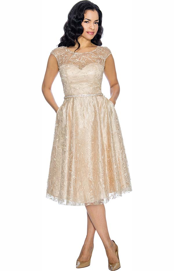 Annabelle 8662-Champagne Cap Sleeve Pleated Dress With Lace Design