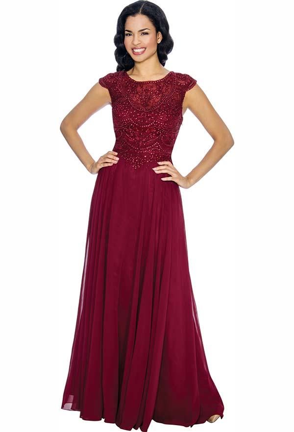 Annabelle 8665-Burgundy Cap Sleeve Pleated Dress With Embellished Bodice