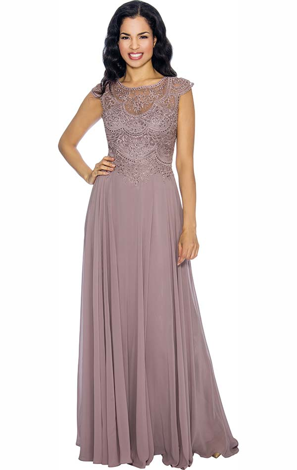 Annabelle 8665-Rose Cap Sleeve Pleated Dress With Embellished Bodice